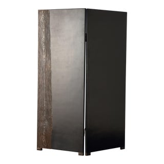 2 Panel Black Lacquer Screen with Woodgrain Design For Sale