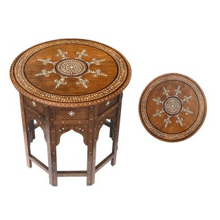Anglo Indian Intricately Inlaid Circular Traveling Table For Sale
