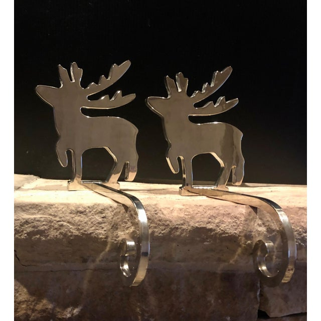 Vintage Stocking Hangers Christmas Reindeer Silver Long Handle Pair For Sale - Image 10 of 10