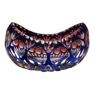 German Art Deco Cobalt Crystal Bowl For Sale