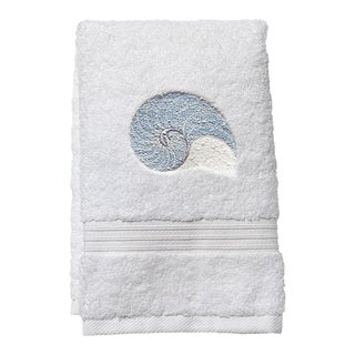 Light Blue Striped Nautilus Guest Towel White Terry, Embroidered For Sale