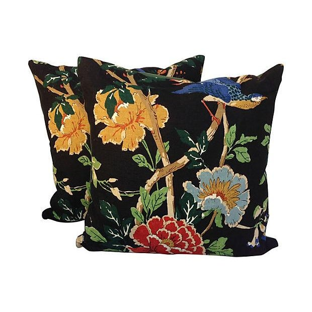 Chinoiserie Floral & Bird Pillows - Pair - Image 2 of 6