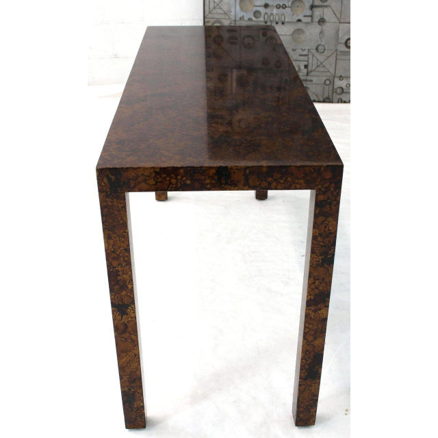 1970s Mid Century Modern Tortoise Lacquer Finish Console Table For Sale - Image 5 of 9