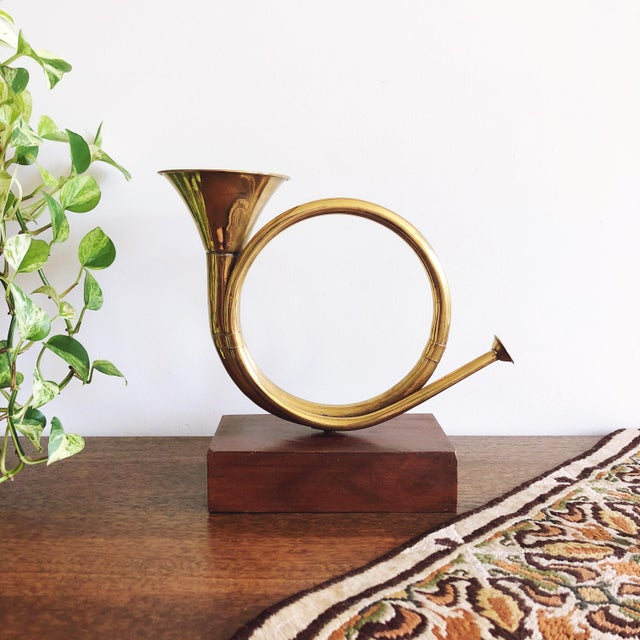 Vintage Brass Horn With Wood Base For Sale In Austin - Image 6 of 6