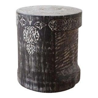 Boho Chic Jamal Carved Stool For Sale