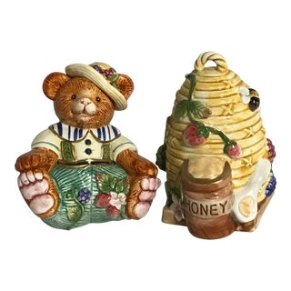 Fitz & Floyd Bear Beehive With Honey Pot Salt Pepper Shakers - A Pair For Sale