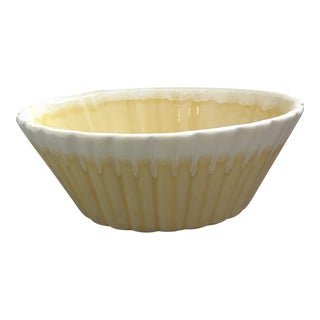 Vintage Ceramic Oval Yellow & White Bowl For Sale