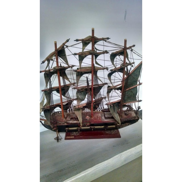 Vintage Tall Ship Model - Image 4 of 7