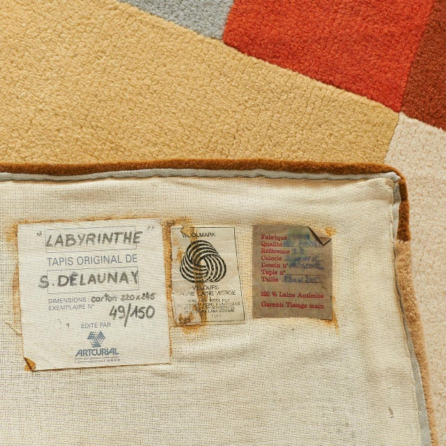 """Orange """"Labrinthe"""" Wool Rug by Sonia Delaunay For Sale - Image 8 of 10"""