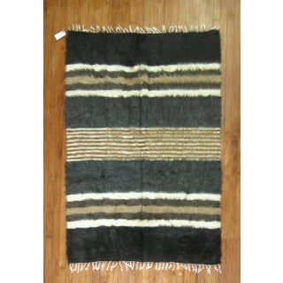 """Vintage Striped Mohair Rug / Throw - 4'4"""" x 6' Preview"""
