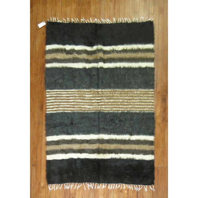 "Vintage Striped Mohair Rug / Throw - 4'4"" x 6' - Image 2 of 6"