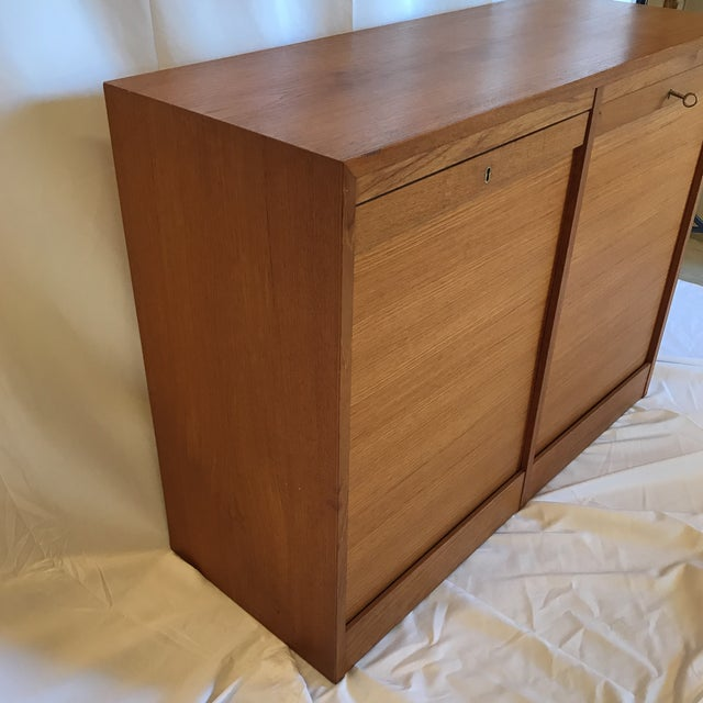 Danish Modern Double Tabour Door Danish Teak Buffet For Sale - Image 3 of 12