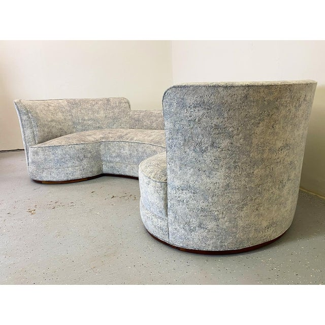 Early and rare example, beautifully restored Oasis sofa. Cut velvet style fabric with a blend of light blue, grey and...