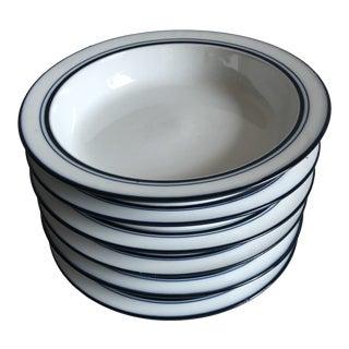 Vintage Blue & White Dansk Bistro Cereal or Soup Bowls S/6 For Sale