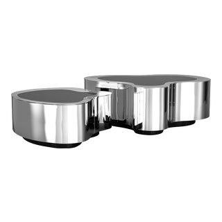 Covet Paris Wave Polished Stainless Steel Coffee Table For Sale