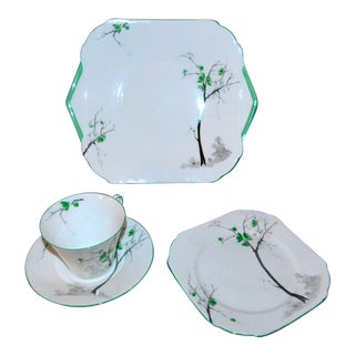 1930s Shelley China Luncheon Set - 4 Piece Set For Sale