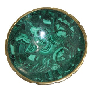 Vintage Malachite and Brass Scalloped Edge Round Dish For Sale