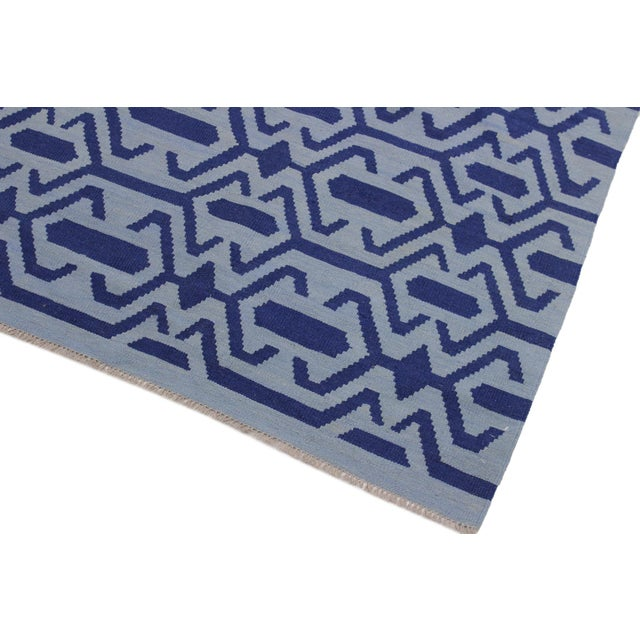 Contemporary Contemporary Kilim Sager Blue Hand-Woven Wool Rug- 4′4″ × 5′9″ For Sale - Image 3 of 8