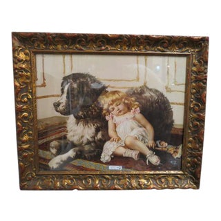 Vintage Antique Victorian Child and Dog Print For Sale