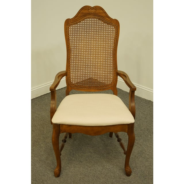 French Provincial Late 20th Century Vintage Bernhardt Furniture French Provincial Cane Back Dining Arm Chair For Sale - Image 3 of 11