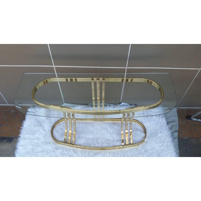 Milo Baughman DIA Brass & Glass Sofa Table For Sale - Image 5 of 5