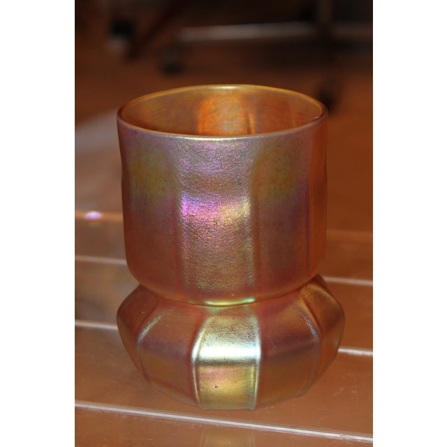 Contemporary Steuben Gold Aurene Style 2 Piece Candle Holder - Image 4 of 9