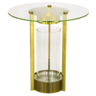 Brass & Glass Cylindrical End Table Attributed To Dorothy Thorpe For Sale
