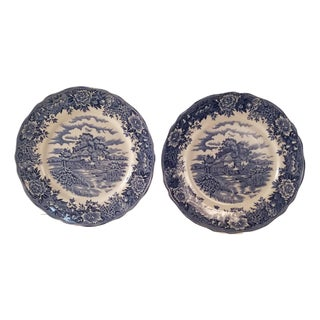 English Village Dinner Plates - A Pair