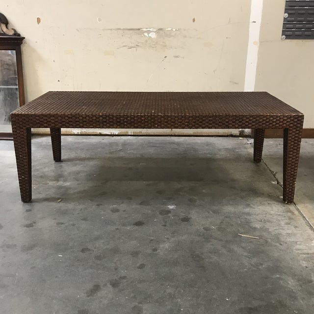 Brown Vintage Mitchell Gold + Bob Williams Wicker Coffee Table For Sale - Image 8 of 8