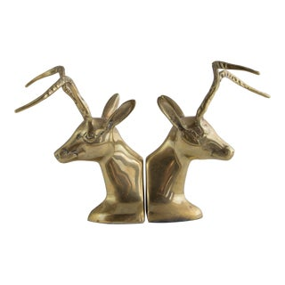 Brass Horned Impala Bookends For Sale