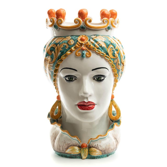 Ceramic Green & Orange Sicilian Gigante Head, Schittone Regina For Sale - Image 7 of 10