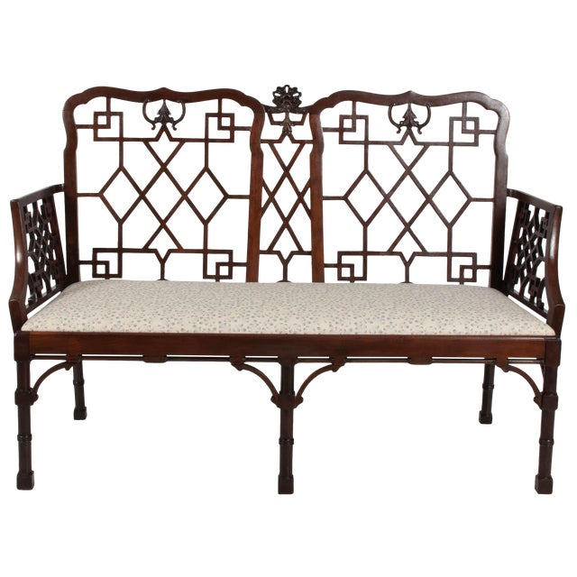 English Chinese Chippendale Mahogany Settee For Sale