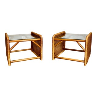 Boho Chic Rattan Wicker Side Tables - a Pair For Sale