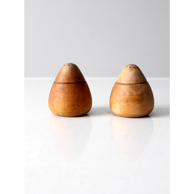 Wood Mid-Century Wooden Salt and Pepper Shakers For Sale - Image 7 of 7