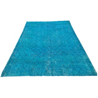 Azure Blue Over-Dyed Turkish Rug - 6′7″ × 10′1″ For Sale