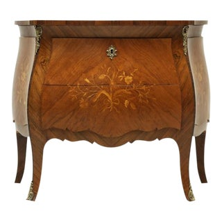 Vintage Bombe Inlaid Louis XV Style Commode For Sale