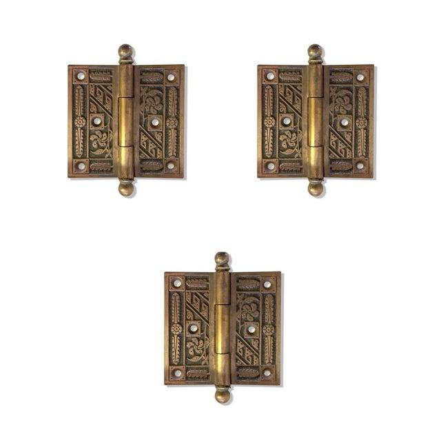 Antique Art Deco Solid Brass Door Hinges For Sale