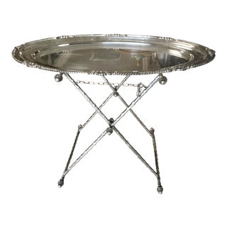 Vintage Silverplate Folding Occasional Table For Sale