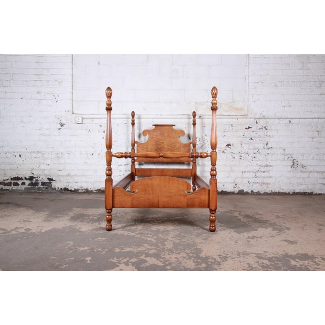 Vintage Tiger Maple Twin Pineapple Poster Beds, Pair For Sale In South Bend - Image 6 of 13