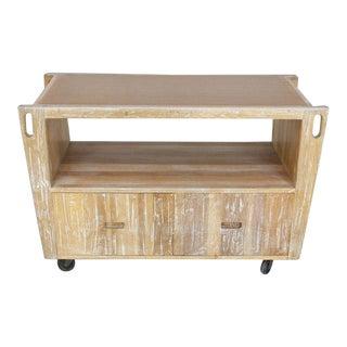 1970s Arts & Crafts Adze Cut Ceruised Oak Finish Serving Cart Bar on Wheels For Sale
