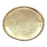 Image of Vintage Mid Century Brass Wall Hanging Tray For Sale