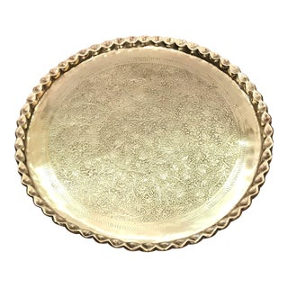 Vintage Mid Century Brass Wall Hanging Tray For Sale
