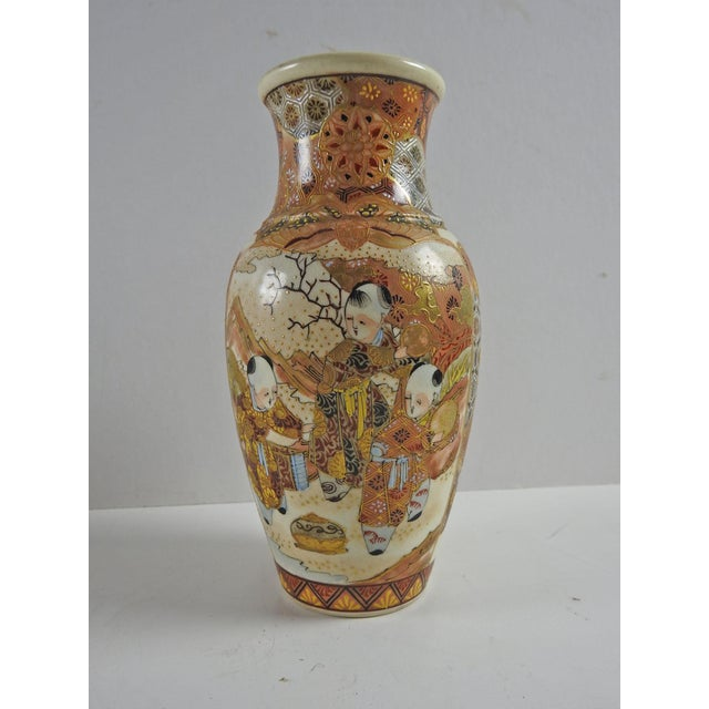 Asian Antique Hand Painted Satsuma Vase For Sale - Image 3 of 6