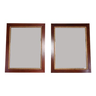 Pair of Italian Mahogany Gold Leaf Mirrors, 1920s For Sale