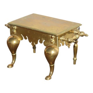 Antique Victorian Brass Coachman's Footstool Footman Stool Trivet Stand W Handles For Sale