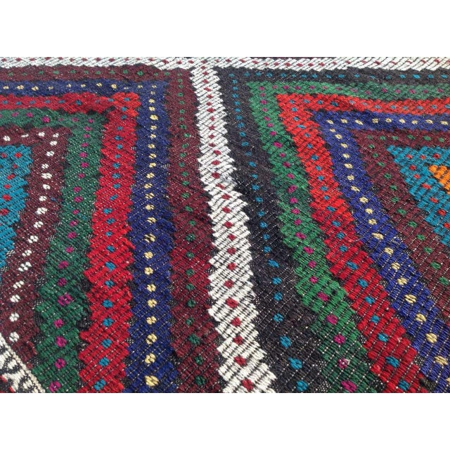 "Vintage Turkish Kilim Rug - 6'9"" x 10'5"" For Sale In Raleigh - Image 6 of 7"