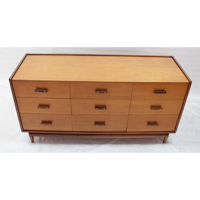 Birch Nine Drawers Two-Tone Finish Dresser For Sale - Image 7 of 8
