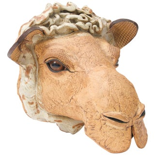 Earthenware Wall-Mount Camel Head Sculpture, Signed For Sale