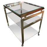 Image of 1970's Vintage Italian Brass Bar Cart For Sale