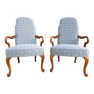 Ethan Allen Upholstered Queen Anne Arm Chairs - a Pair For Sale